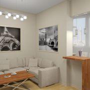 Проект двухкомнатной квартиры в Москве 57 кв. м.  Кухня